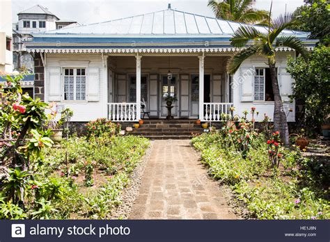 house reunion french colonial house in st denis reunion island stock