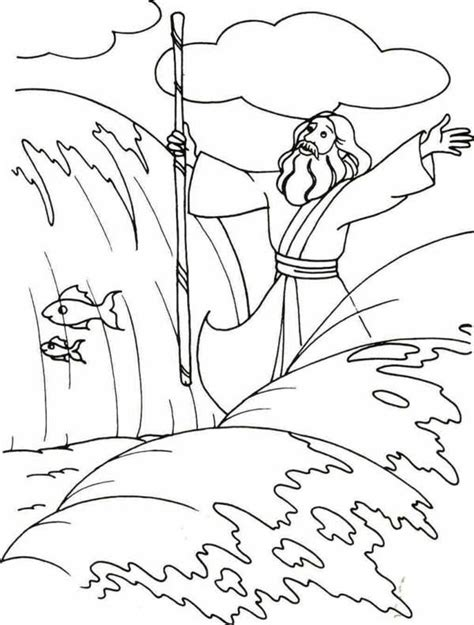 moses coloring pages moses parting the sea coloring page coloring home