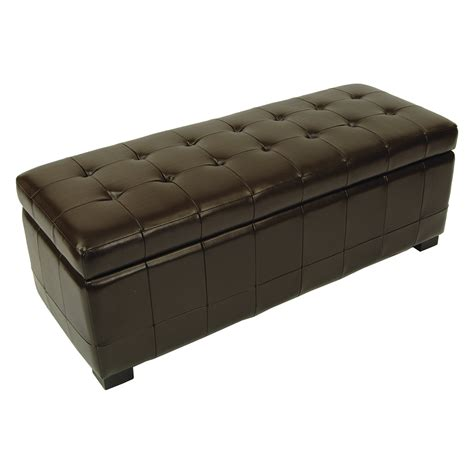 safavieh large manhattan storage bench brown leather