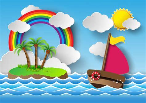 boat trip cartoon sailing boat with marine cartoon vectors 04 vector