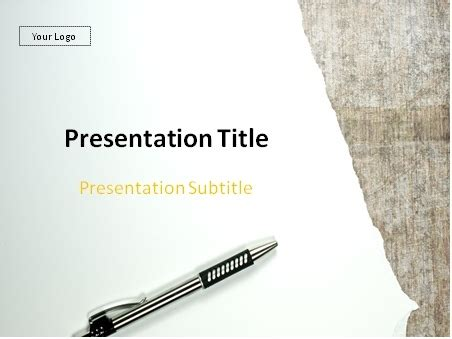 Download Torn Paper And Pen Powerpoint Template Writing Powerpoint Template