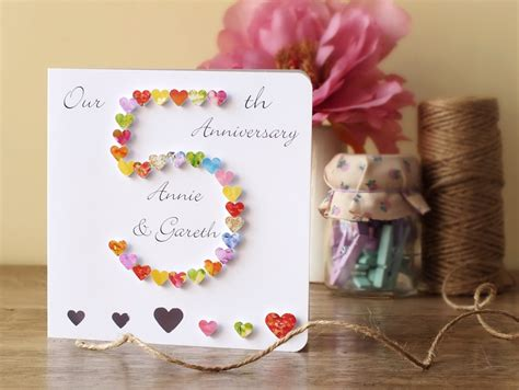 Anniversary Handmade Gifts - 5th wedding anniversary card personalised 5th anniversary