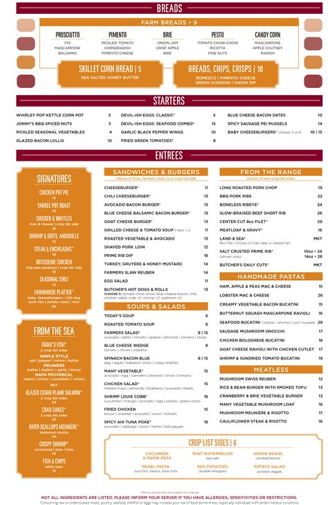 table dc menu lunch dinner menu dc founding farmers
