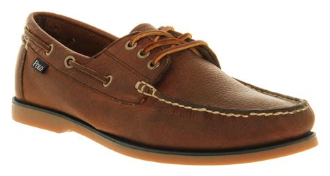 polo bienne boat shoe tan lyst ralph lauren bienne boat shoe tan leather in brown