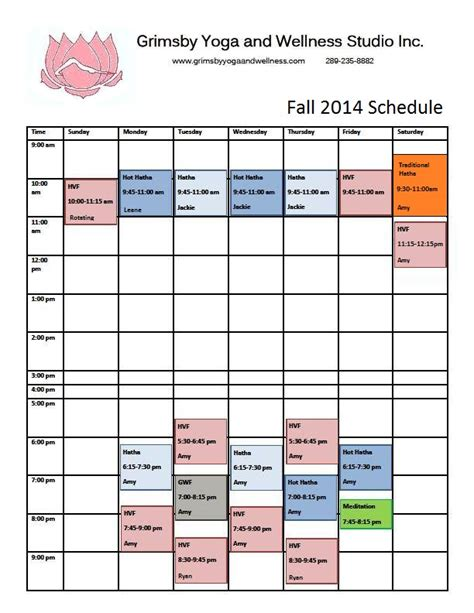 You And The Mat Schedule by Grimsby And Wellness Our Fall Schedule Has