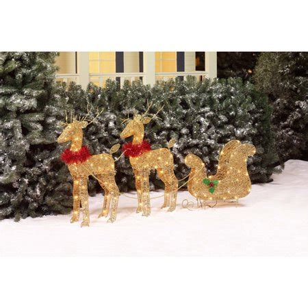 walmart decorative deer outdoor time 30 quot two glittering gold deer with sleigh light sculpture walmart