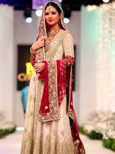 Red and skin color 2014 pakistani maxi style wedding wear dress