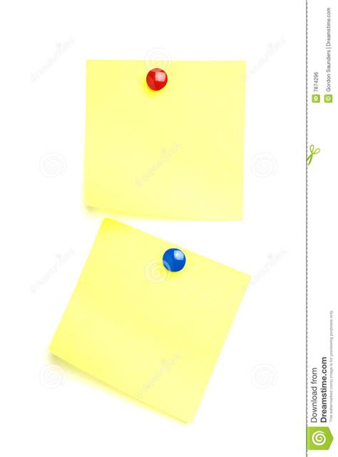 Animal Smiley Sticky Notes Post Its Penanda Dokumen Dan Memo 2 post it notes with drawing pins royalty free stock image image 7874296