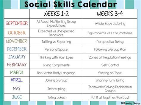 social skills lesson plan template social skills calendar speechy musings