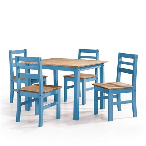 Blue Dining Table And Chairs Manhattan Comfort Maiden 5 Blue Wash Solid Wood Dining Set With 1 Table And 4 Chairs