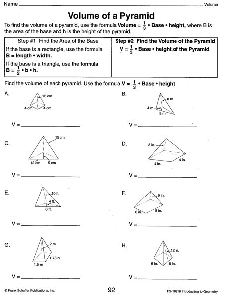 printable math worksheets volume of pyramid worksheets surface area of pyramids worksheet