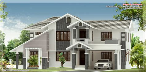 kerala sloped roof home design sloped roof house elevation kerala home design floor plans