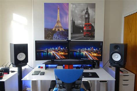 Dual Desk Office Ideas dual 4k video production sit stand station battlestations