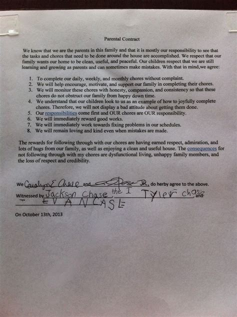 children s contract template sle of parental chore contract family