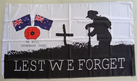 Lest We Forget by Lest We Forget Flag Poppy Australia New Zealand Flags