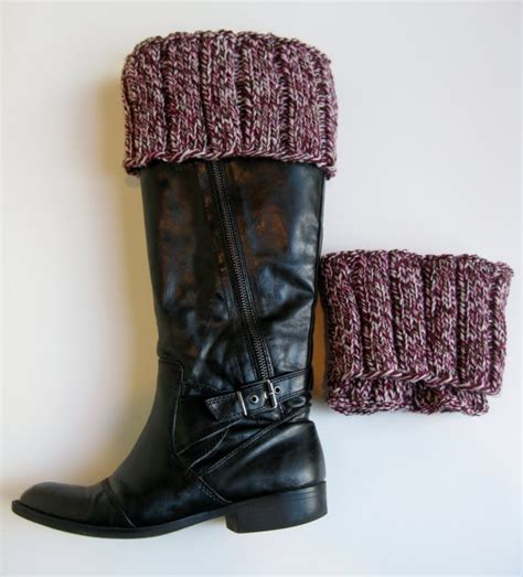 knitted boot toppers knit boot cuffs burgundy tweed wool wool brown and boot
