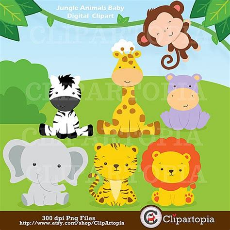 Jungle Animals Baby Shower by Jungle Animals Baby Digital Clipart Safari Animals Clip