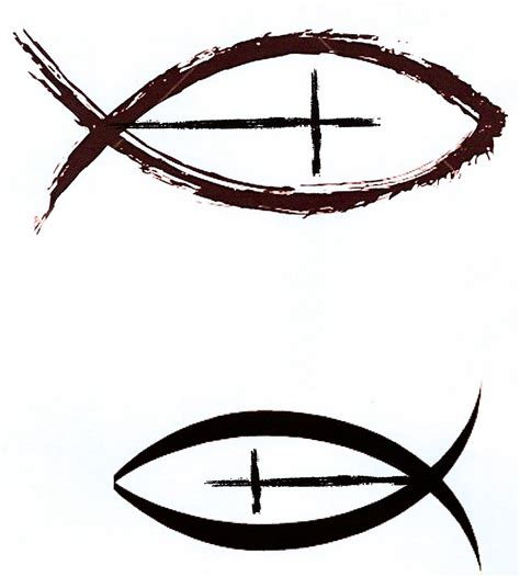 religious symbol tattoos designs christian fish with cross as a side with cross