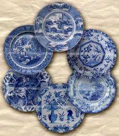 Shabby chic blue and white china plates for doll house two 2 inch