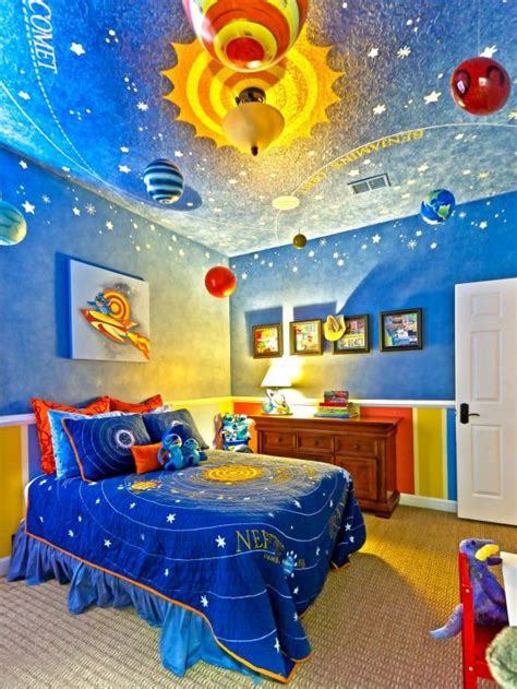 planet design home decor and ceiling 37 joyful kids room design ideas with blue yellow tones