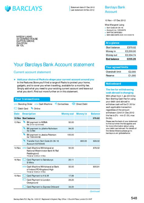 barclays bank statement template barclays statement best template collection