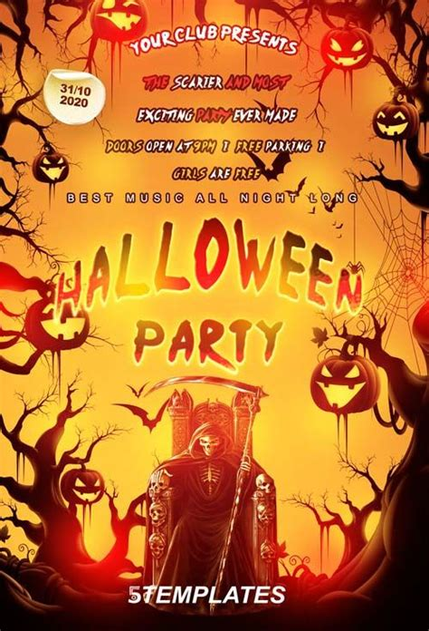templates for halloween flyers free halloween party flyer psd template http