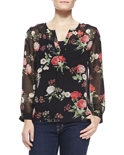 joie maurelle floral print silk blouse in floral lyst
