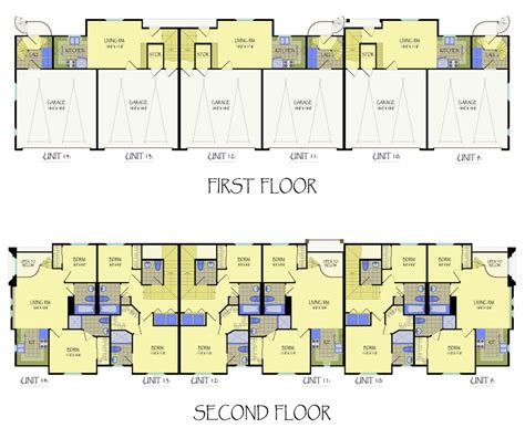 apartment unit floor plans multi unit apartment building plans house plans