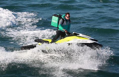 deliveroo uk launches jet ski service  deliver takeaway