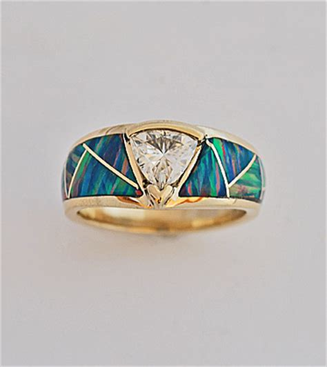 Gold and Moisanite ring featuring Opal inlay   Southwest