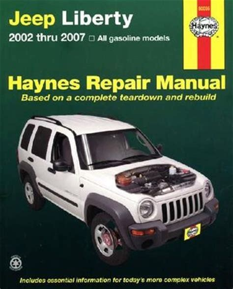motor repair manual 2010 jeep grand cherokee interior lighting jeep liberty cherokee 2002 2007 haynes repair manual