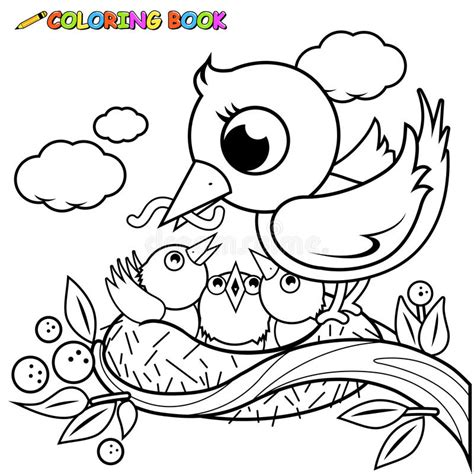 cute birds   nest coloring book page stock vector