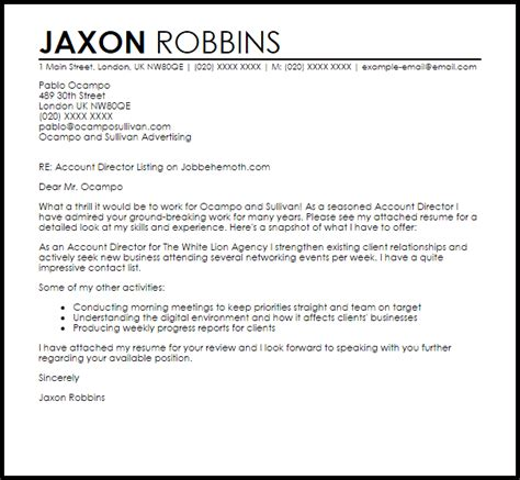 Account Director Cover Letter by Account Director Cover Letter Sle Livecareer