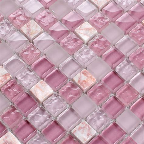 Pink Tiles Kitchen by Glass Mosaic Tile Pink Wall Sticker K1638 Pretty