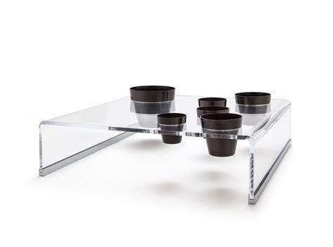 vasi in plexiglass tavolino fioriera in plexiglass con vasi sospesi