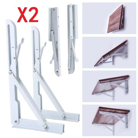 Wall Mounted Folding Shelf by 2x White Metal Folding Triangle Angle Shelf Wall Mounted