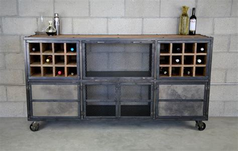 Industrial Style Bar Cabinet Liquor Cabinet Bar Vintage Industrial Modern Design Reclaimed Wood Top Steel