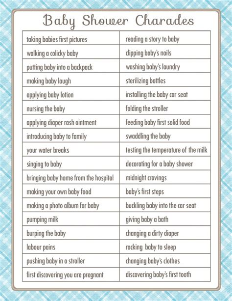 Baby Shower Charades Printable charades baby shower printable by sunnysidecottageart