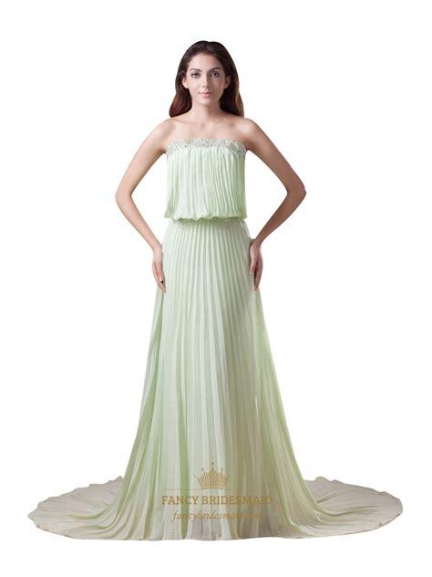 dress with beading green strapless sweep chiffon bridesmaid
