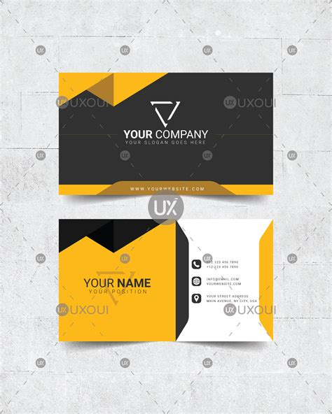 business card page template png black yellow white creative business card design