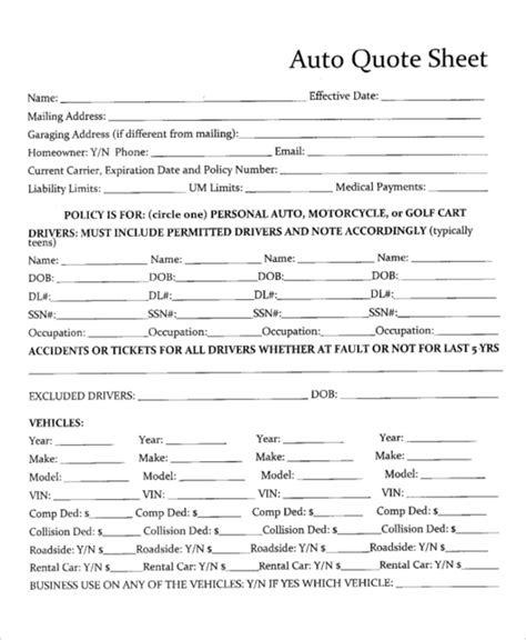Auto Insurance Quote Form Template Templates Resume Exles Wla0787yvk Car Insurance Form Template