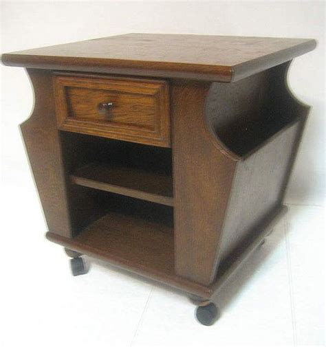 Magazine Tables With Drawers by Vintage Antique Style Oak Rolling End L Side Table With 2 Side Mag
