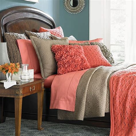 coral and grey bedding ally interiors peach and tan