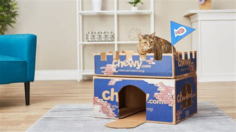 chewy box craft diy cat house cat furniture castle craft