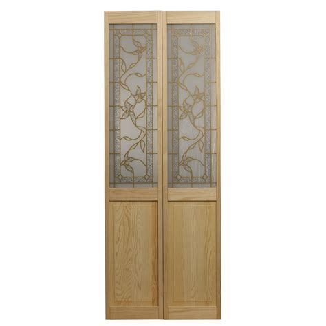 Bi Folding Interior Doors Shop Pinecroft Tuscany Solid 1 Lite Patterned Glass Pine Bi Fold Closet Interior Door