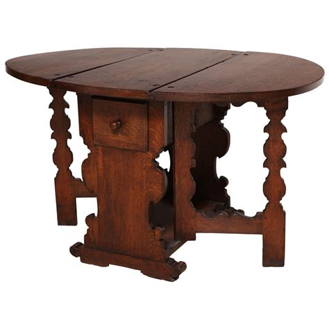Oak Drop Leaf Table Antique Flemish Oak Drop Leaf Gate Leg Table