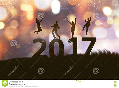new year celebration silhouette celebrate 2017 new year stock photo