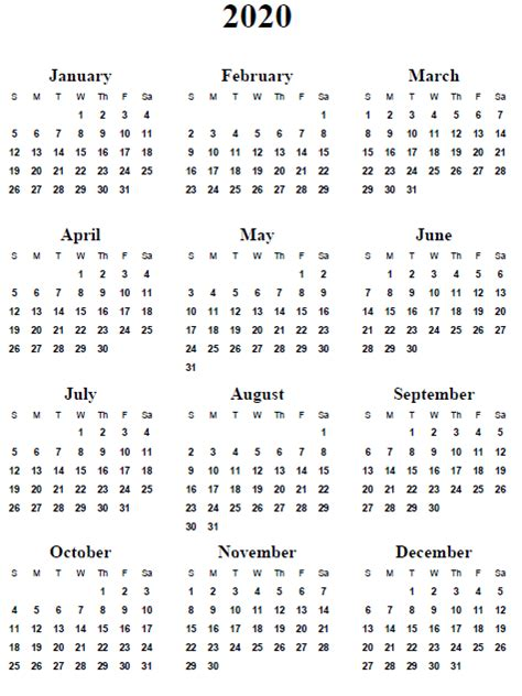 2020 Year Calendar 5 Best Images Of 2020 Yearly Calendar Free Printable
