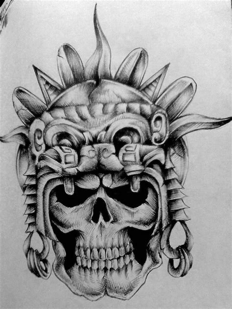 Aztec Skull By Pick1 On Deviantart Aztec Warrior Tattoos Drawings