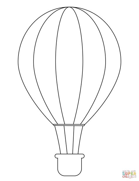 simple hot air balloon coloring page free printable